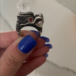 Black Diamond Dragon Ring with Pearl and Gems